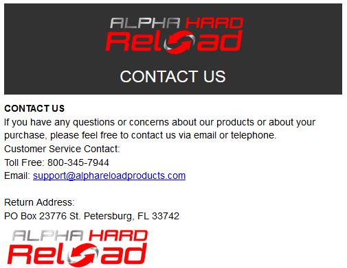 Alpha Hard Reload Phone Number