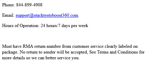 Stackt 360 Canada Customer Service Phone Number