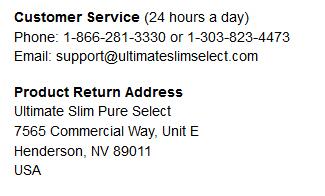 Ultimate Slim customer care number