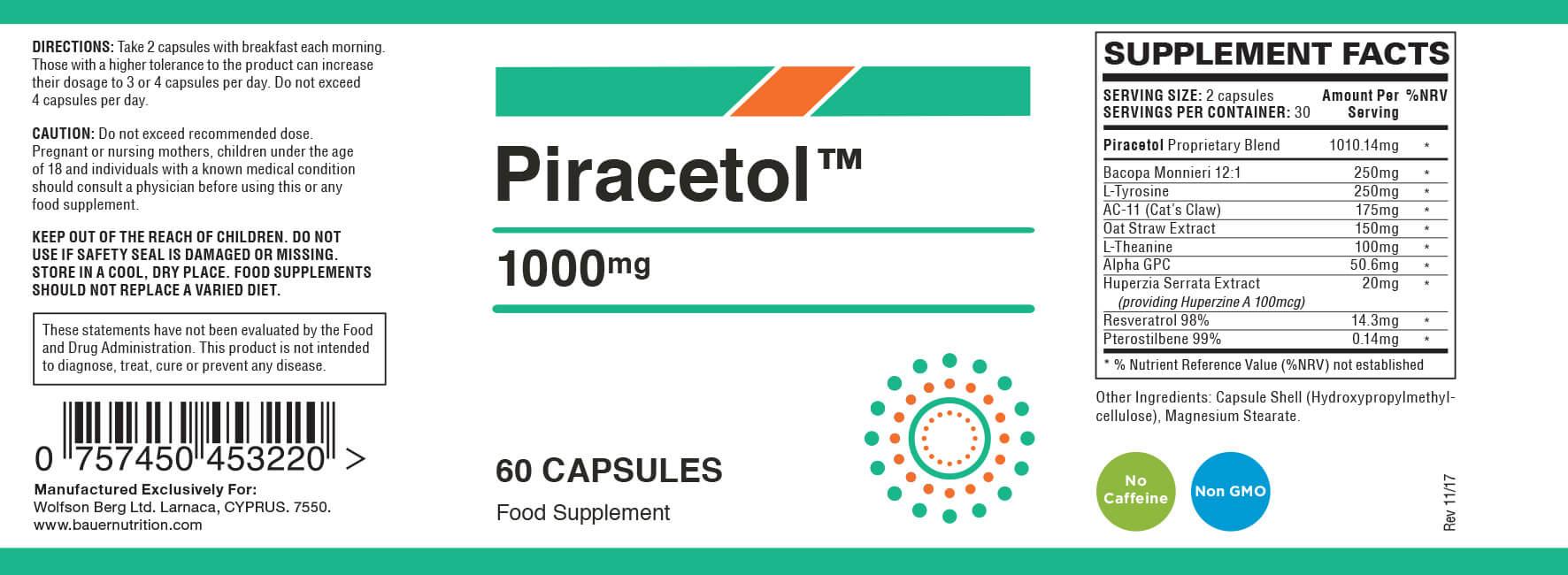 piracetol ingredients